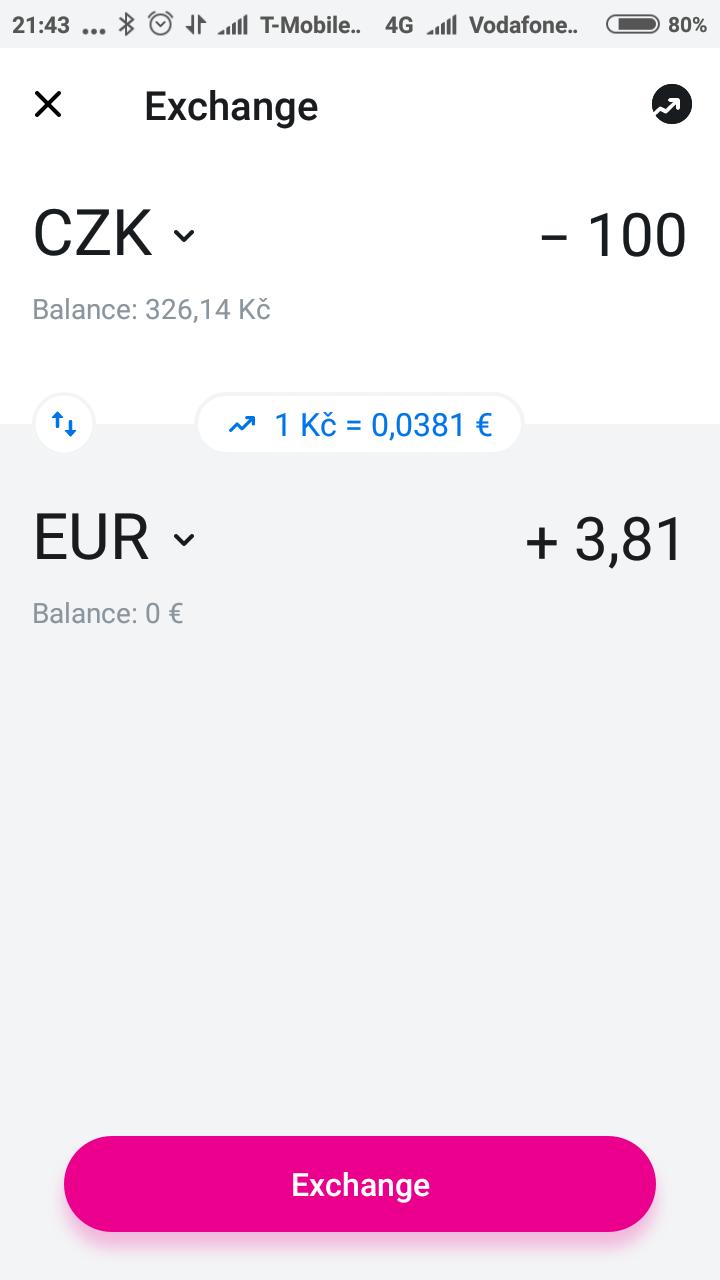 výměna peněz v revolut aplikaci