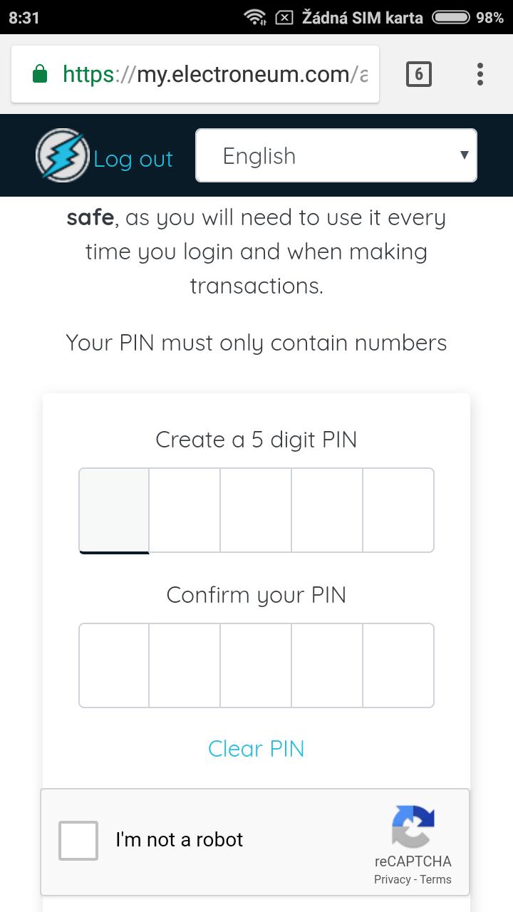 nastavení PIN kódu
