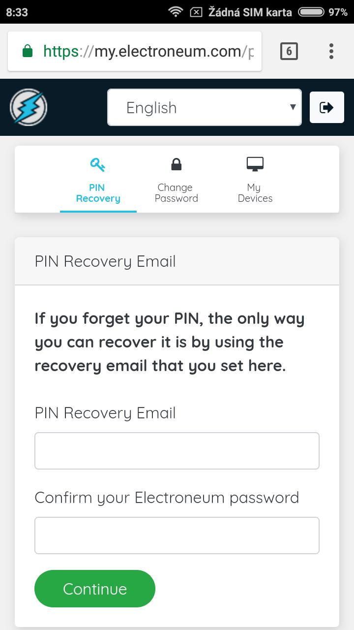 nastavení emailu pro obnovu PINu