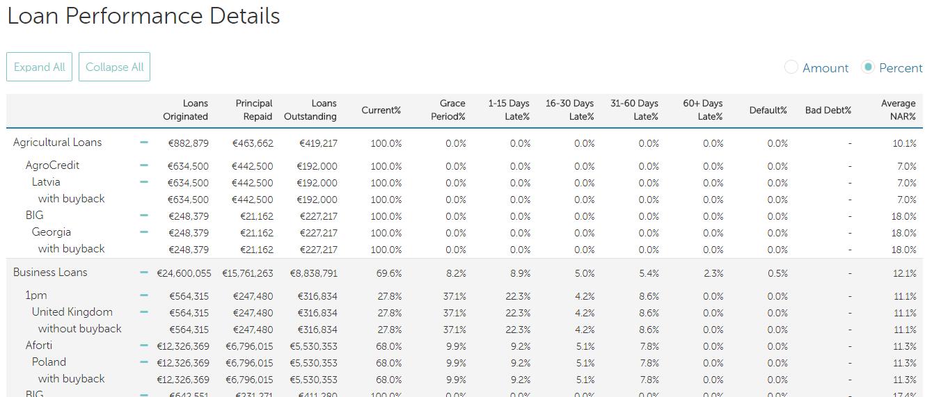 Ukázka tabulky výkonnosti půjček