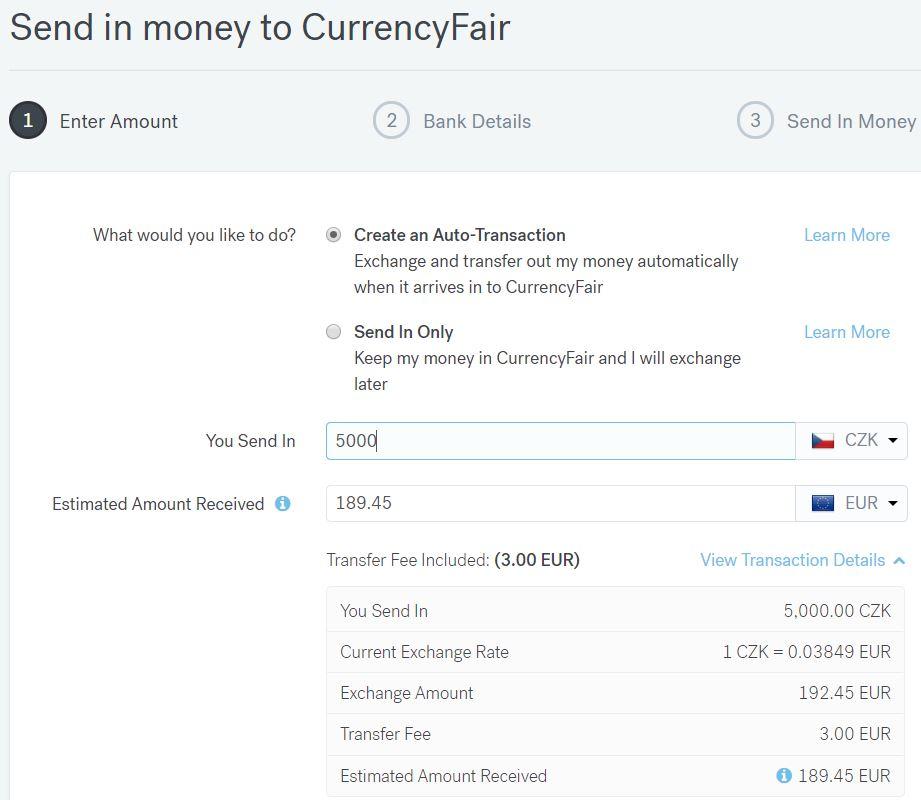 CurrencyFair - nabití účtu ukázka