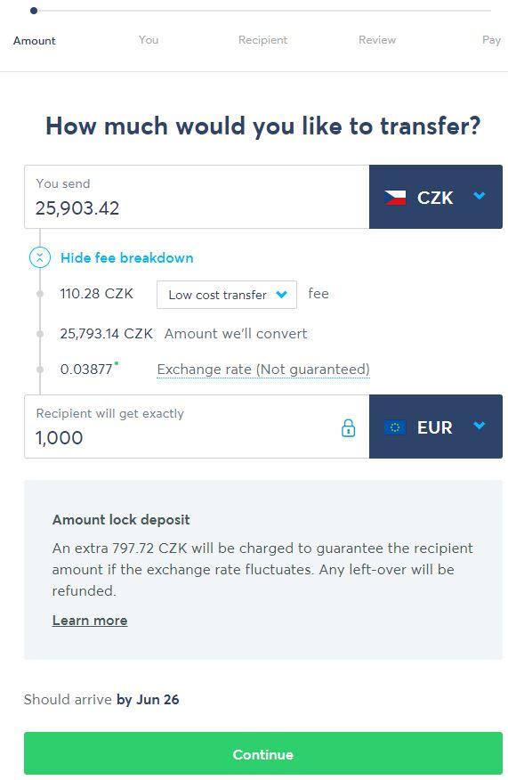 Ukázka výměny peněz