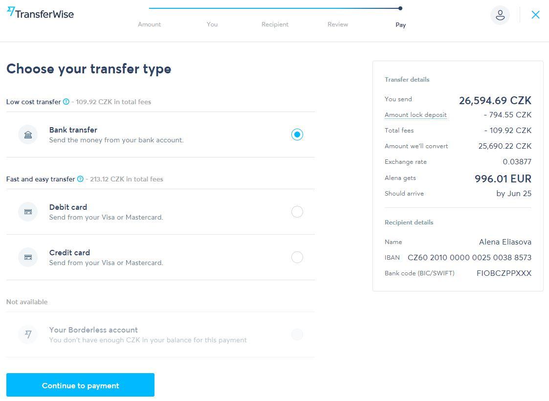 Přehled platby a možnosti nabití účtu