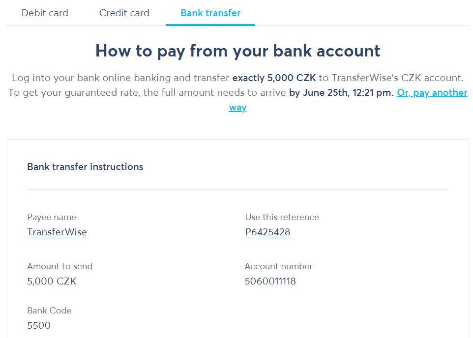 TransferWise - dobití účtu a možnosti