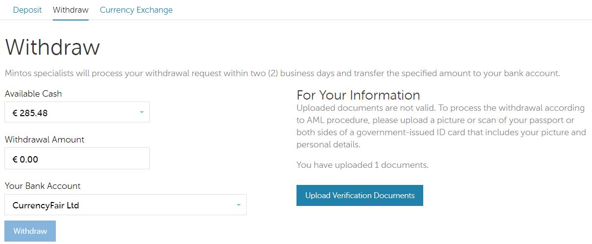 Rozhraní aplikace pro výběry a nahrávání dokumentů pro ověření identity