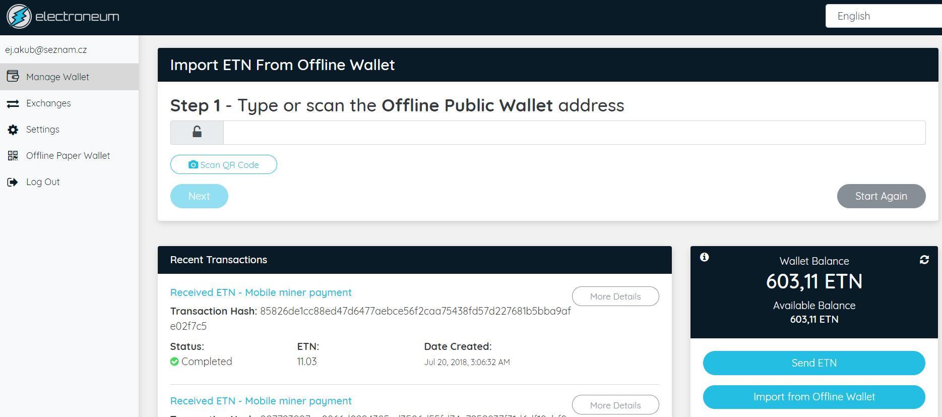 Webové rozhraní Electroneum peněženky