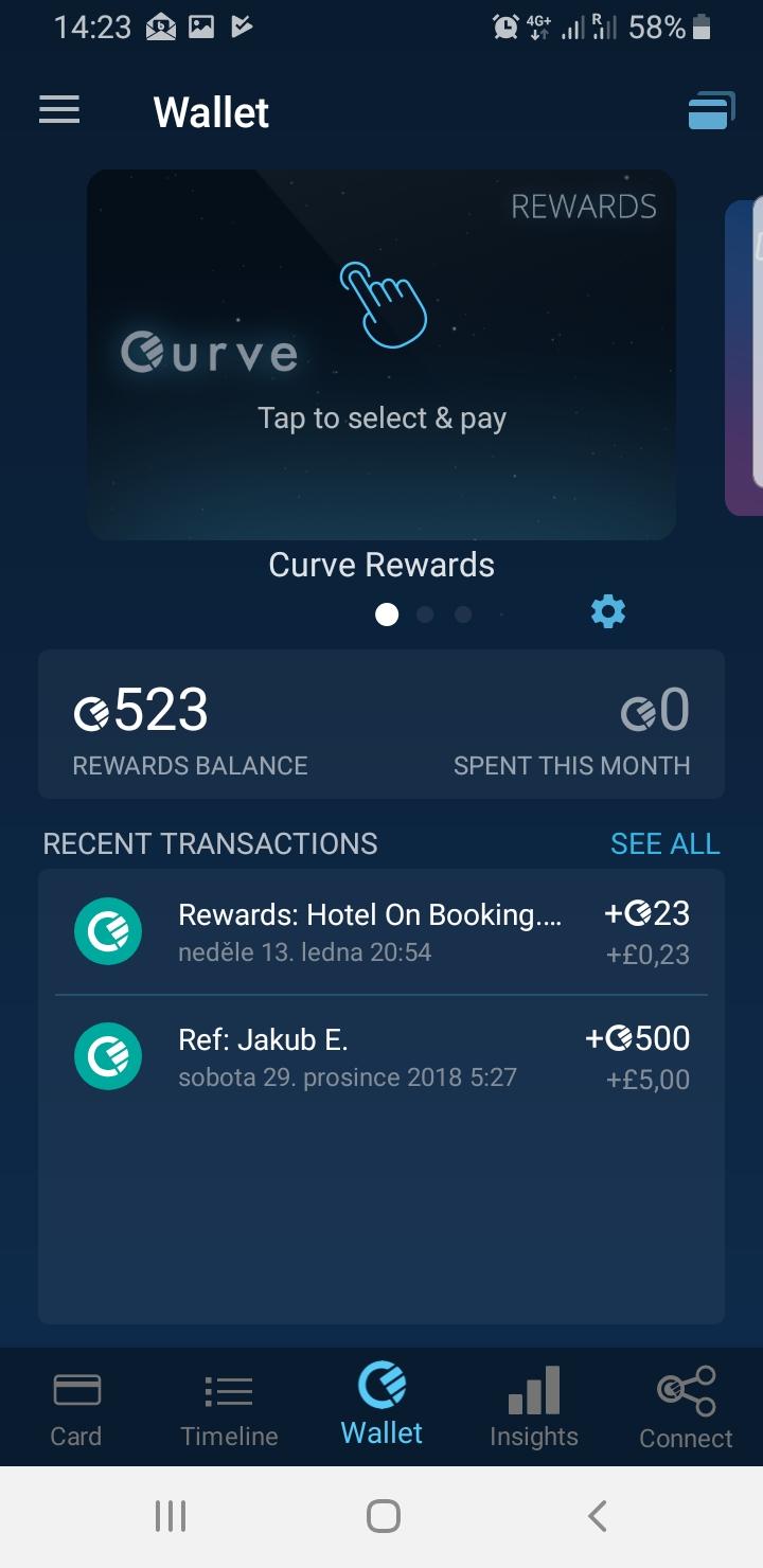 Správa karty v aplikaci Curve - Bonusy