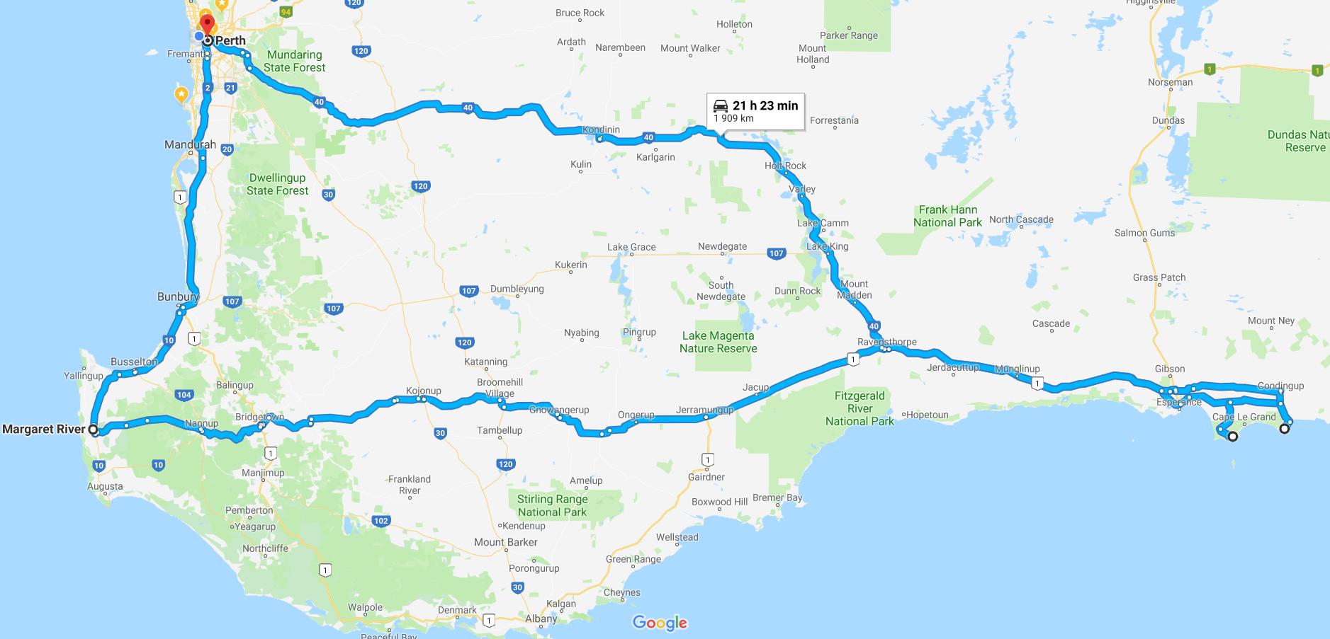 Mapa trasy průzkumu Jihozápadní Austrálie