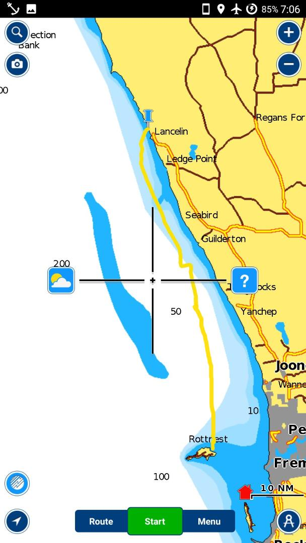 Jachting map from Rottnest to Lancelin