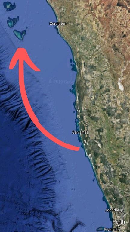 trasa plavby na souostroví Abrolhos