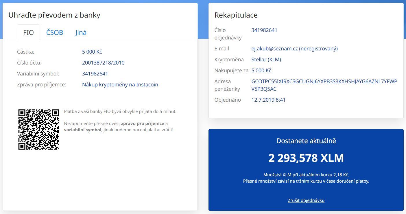 platba | instacoin | osobnizkusenosti.cz