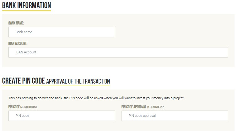Ještě před samotným online investováním je nutné vyplnit u svého účtu informace o bankovním účtu a vytvořit PIN kód.