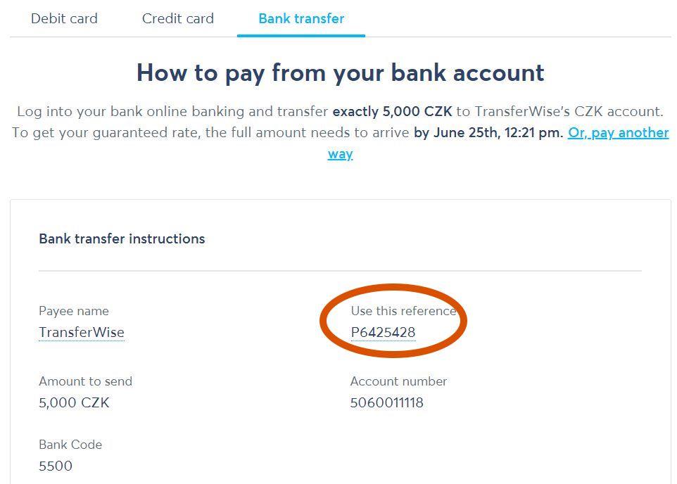 Jak převést peníze přes Transferwise účet? Tranferwise spáruje vaši platbu s unikátním referenčním číslem - Reference number. Platba převodem trvá 1 až 3 dny.